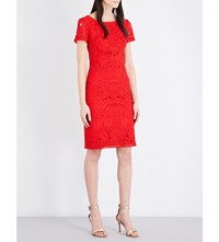 St John Embroidered Guipure Lace Midi Dress African Red