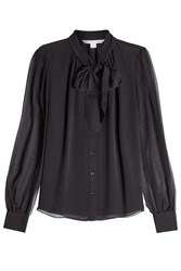 Diane Von Furstenberg Silk Blouse With Self Tie Bow Black