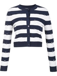 Carolina Herrera Striped Cropped Cardigan Blue