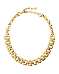 Jose And Maria Barrera Hammered Link Collar Necklace Gold