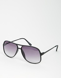 Asos Square Aviator Sunglasses In Black