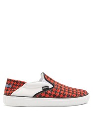 Vetements Houndstooth Print Slip On Low Top Trainers Red Multi