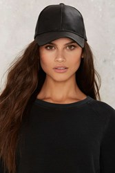 Ballin' Vegan Leather Baseball Cap Black