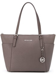 Michael Michael Kors Large 'Jet Set' Top Zip Tote Nude Neutrals