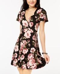 Amy Byer Bcx Juniors' Printed Faux Wrap Fit And Flare Dress Black Floral