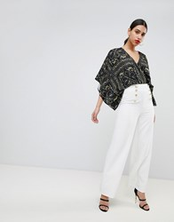 Flounce London Wide Leg Tailored Trouser With Gold Button Detail White