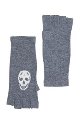 Skull Cashmere Wool And Cashmere Blend Luther Fingerless Glove Gray