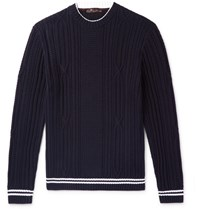 Loro Piana Slim Fit Striped Cable Knit Cotton And Cashmere Blend Sweater Blue