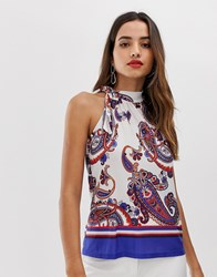 Morgan Halter Top With Tie Neck Detail In Scarf Print Multi