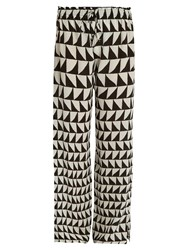 Kalmar Zigzag Print Georgette Trousers Black White
