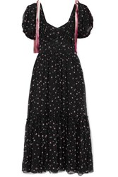 Loveshackfancy Angie Gathered Floral Print Silk Georgette Maxi Dress Black