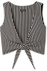 Mds Stripes Clair Cropped Tie Front Striped Cotton Jersey Top Black