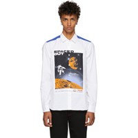 Kenzo White And Blue Artwork Shirt