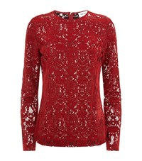 Dkny Long Sleeve Lace Blouse Female Red
