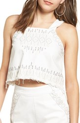 Blank Nyc Women's Blanknyc Embroidered Denim Crop Top