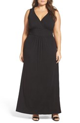 Loveappella Plus Size Women's Surplice Maxi Dress