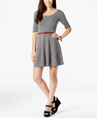 City Triangles Juniors' Scallop Edge Textured Dress With Belt Black White