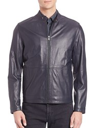 Saks Fifth Avenue Collection Zipper Leather Jacket Navy