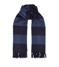 Ralph Lauren Purple Label Striped Cashmere Scarf Blue
