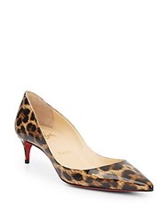 Christian Louboutin Rocket Leopard Print Patent Leather Pumps Brown