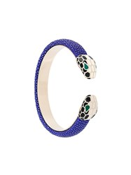Bulgari Snake Head Cuff Blue