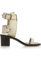 Isabel Marant Jaeryn Studded Snake Effect Leather Sandals White