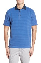 Thaddeus 'S Ivan Stripe Stretch Jersey Polo True Blue
