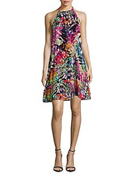 Nicole Miller Abstract Printed Halter Dress Purple Multi
