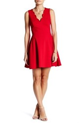 Love Ady Scalloped V Neck Mini Fit And Flare Dress Red