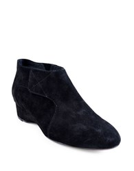 Taryn Rose Feni Suede Wedge Heel Booties Black