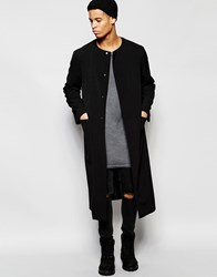 Asos Collarless Extreme Longline Duster Coat In Black Black