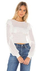 Blue Life Victoria Top In White. Swiss Dot Ivory