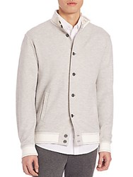 Saks Fifth Avenue Cotton And Linen Bomber Jacket Grey