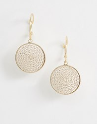 Ny Lon Nylon Disc Drop Hoop Earrings Gold