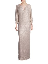 Elizabeth And James Melaney Metallic Jacquard Caftan Gown Champagne
