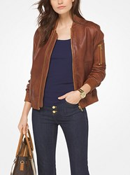 Michael Michael Kors Washed Leather Bomber Jacket Brown