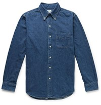Orslow Button Down Collar Selvedge Denim Shirt Blue