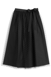 Red Valentino Mid Length Skirt With Dotted Tulle Overlay Black