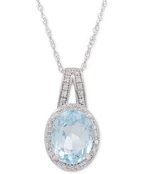 Macy's Aquamarine 1 1 2 Ct. T.W. And Diamond 1 10 Ct. T.W. Pendant Necklace In 14K White Gold