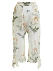 By Walid Yayoi Floral Print Cotton Tulle Cropped Trousers Ivory Multi