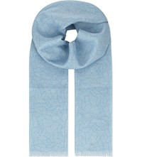 Richard James Deco Linen Scarf Aqua