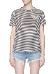 Sandrine Rose 'The Two Hundred In Must' Slogan Embroidered Stripe T Shirt Multi Colour