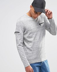 Asos Cotton Jumper With Chest And Arm Zip Pocket Light Grey