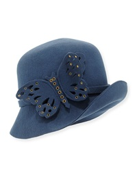 Eric Javits Papillon Butterfly Detail Wool Cloche