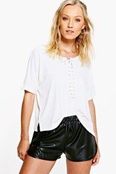 Boohoo Lace Up Boxy Short Sleeve Tee Cream