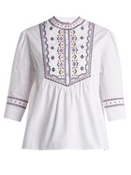 Talitha Willow Embroidered Cotton Top Ivory