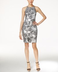 Calvin Klein Embroidered Sequined Cocktail Dress Silver