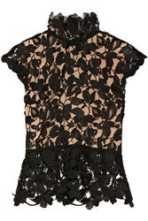 Reem Acra Guipure Lace Top Black