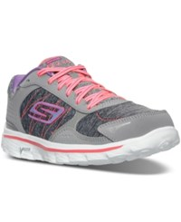 Skechers Women's Go Walk 2 Flash Running Shoes From Finish Line Grey Hot Pink