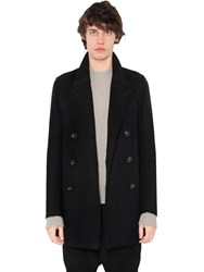 Rick Owens Double Breasted Wool Blend Peacoat Black